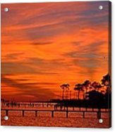 Awesome Fiery Sunset On Sound With Cirrus Clouds And Pines Acrylic Print