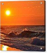 Awesome Red Sunrise Colors On Navarre Beach With Shore Waves Acrylic Print
