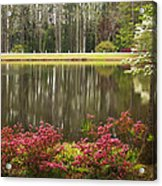 Azaleas And Reflection Pond Acrylic Print