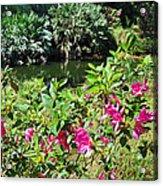 Azaleas By The Pond Acrylic Print