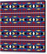Aztec Blue Pattern Acrylic Print
