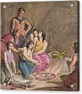 Aztec Women Making Maize Bread, Mexico Acrylic Print