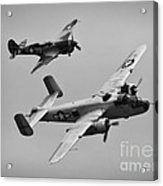 B-25 And Escort Bw Acrylic Print