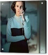Babe Paley Wearing A Traina-norell Dress Acrylic Print