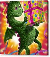 Baby Birthday Dragon With Present Acrylic Print