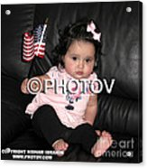 Baby Girl With An American Flag And Voting Sticker - Limited Edition Acrylic Print by Hisham Ibrahim