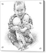 Baby Girl With Dolls Pencil Portrait Acrylic Print