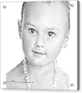 Baby Girl With Necklace Pencil Portrait Acrylic Print