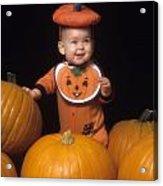 Baby In Pumpkin Costume Acrylic Print