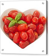 Baby Plum Tomates In A Heart Shaped Bowl Acrylic Print