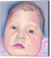 Baby With Wide Eyes And Chubby Cheeks Acrylic Print