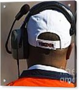 Back Of Mike London Head With Headset Virginia Cavaliers Acrylic Print by Jason O Watson