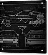Back To The Future Delorean Blueprint 1 Acrylic Print