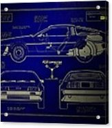 Back To The Future Delorean Blueprint 2 Acrylic Print