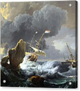 Backhuysen's Ships In Distress Off A Rocky Coast Acrylic Print