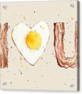Bacon And Egg I Heart You Watercolor Acrylic Print