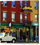 Bagels And Tea St Viateur Bakery And Davids Tea Room Montreal City Scenes Art Carole Spandau Acrylic Print