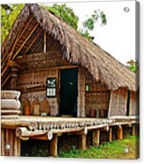 Bahnar Home With Extension As Family Grows At Museum Of Ethnology In Hanoi-vietnam  Acrylic Print