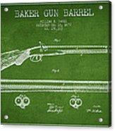 Baker Gun Barrel Patent Drawing From 1877- Green Acrylic Print
