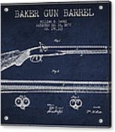 Baker Gun Barrel Patent Drawing From 1877- Navy Blue Acrylic Print
