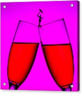 Balance On Red Wine Cups Little People On Food Acrylic Print