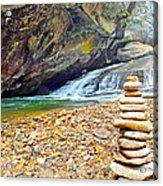 Balanced River Rocks At Birdrock Waterfalls Filtered Acrylic Print