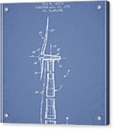 Balancing Of Wind Turbines Patent From 1992 - Light Blue Acrylic Print