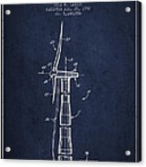 Balancing Of Wind Turbines Patent From 1992 - Navy Blue Acrylic Print