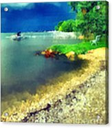 Balaton Lake Shore Acrylic Print by Odon Czintos