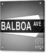 Balboa Avenue Street Sign Black And White Picture Acrylic Print