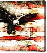 Bald Eagle Bursting Thru Flag Acrylic Print