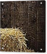 Bale Of Straw And Wooden Background Acrylic Print