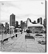 balentien pier canada place and Vancouver waterfront skyline BC Canada Acrylic Print by Joe Fox
