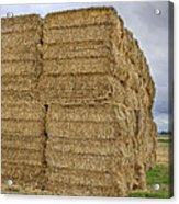 Bales Of Hay On Farmland Acrylic Print