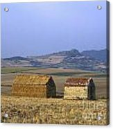 Bales Of Straw Stacked In The Shape Of A House Next To A Little Stone House. Limagne. Auvergne. Fran Acrylic Print by Bernard Jaubert