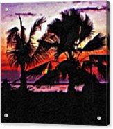 Bali Sunset Impasto Paint Version Acrylic Print