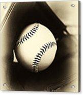 Ball In Glove Acrylic Print by John Rizzuto