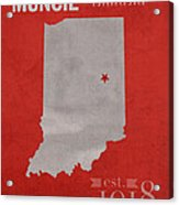 Ball State University Cardinals Muncie Indiana College Town State Map Poster Series No 017 Acrylic Print