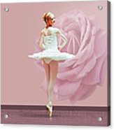 Ballerina In White With Pink Rose  Acrylic Print by Delores Knowles