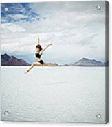 Ballerina Leaping In Mid-air Over Lake Acrylic Print