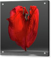 Ballerina On Pointe With Red Dress Acrylic Print