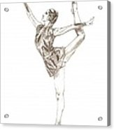 Ballet A Pencil Study In Black And White Acrylic Print by Mario Perez