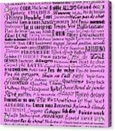 Ballet Terms Black On Pink  Acrylic Print