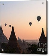 Ballons Over The Temples Of Bagan At Sunrise - Myanmar Acrylic Print