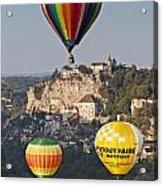 Balloons At Rocamadour Midi Pyrenees France Acrylic Print by Colin and Linda McKie