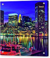 Baltimore Harbor By Night, Baltimore Acrylic Print