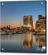 Baltimore Inner Harbor East Skyline At Dawn I Acrylic Print