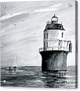 Baltimore Lighthouse In Gray  Acrylic Print