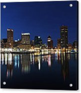Baltimore Skyline At Dusk On The Inner Harbor Acrylic Print