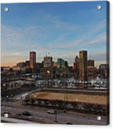 Baltimore Skyline At Sunset From Federal Hill Acrylic Print